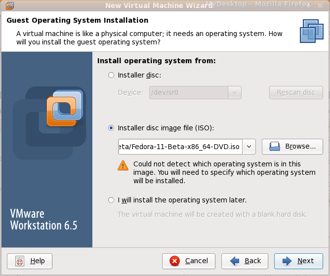VMware Workstation 6.5.2 Fedora 11 Easy Install