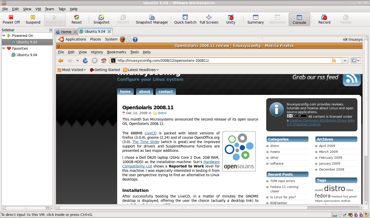 Ubuntu 9.04 running in VMware Wokstation 6.5.2 on Fedora 11