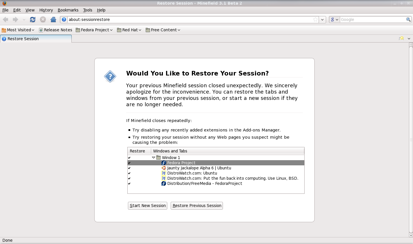 Firefox 3.5 aboutsessionrestore